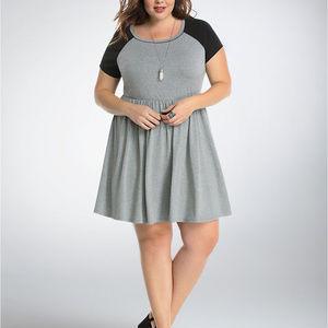 Torrid Gray & Black Raglan Skater Dress Sz 0